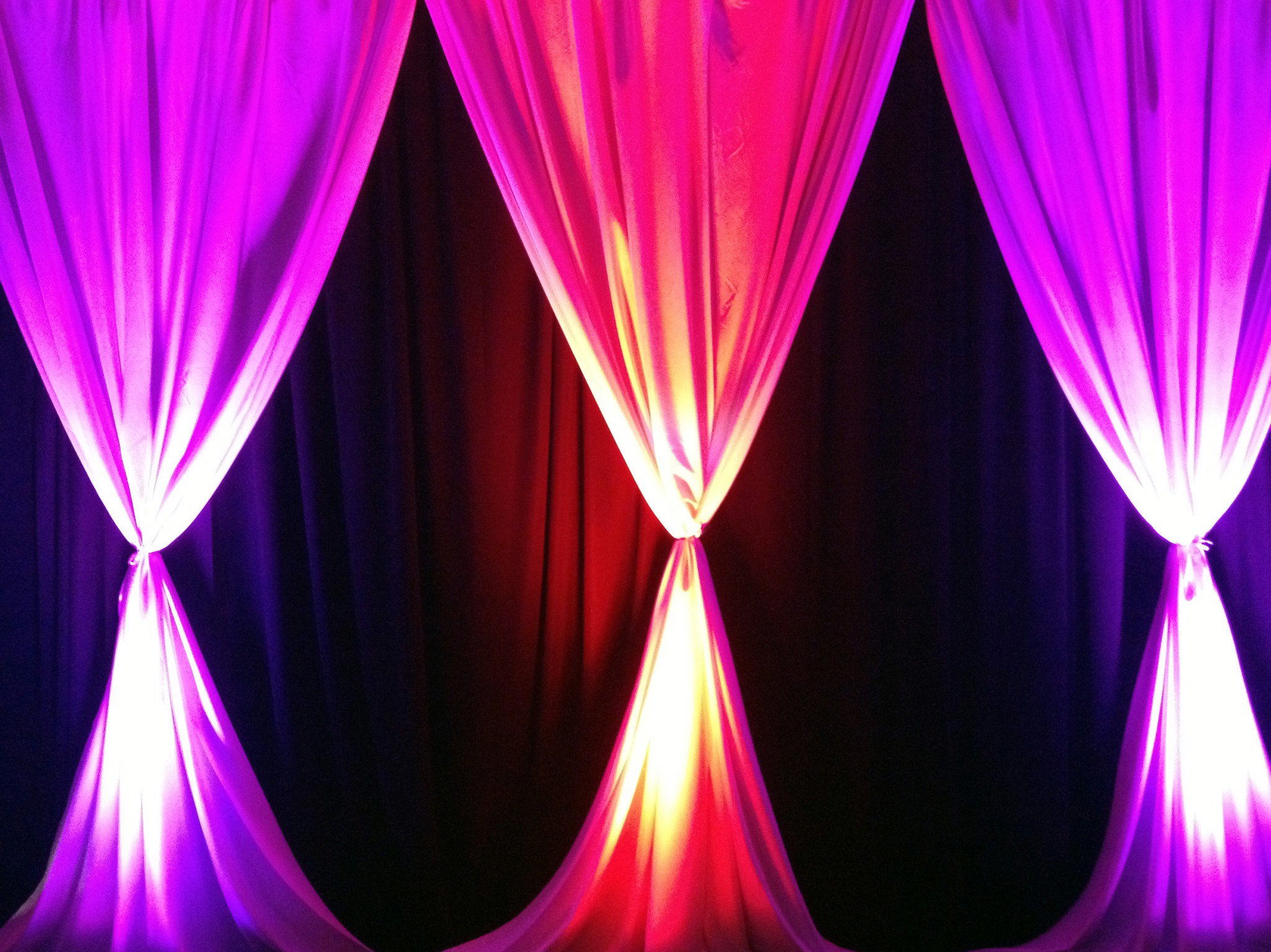 Pipe and Drape Purple and Red